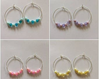 Handmade Hoop Earrings with Coloured Clear and Pearl Beads