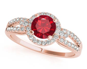 1.15 Ct. Halo Ruby And Diamond Engagement Ring In 14k Gold