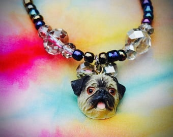 Pug crystal & glass bead necklace