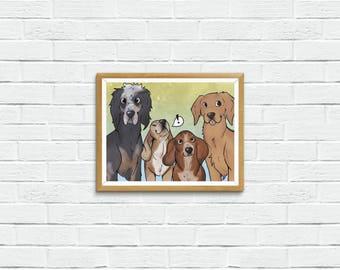 Custom Pet Portrait (3-5 Pets)