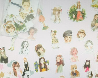 One pack of cute girl stickers/ kawaii girl stickers/