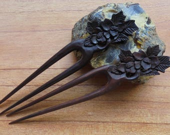 Flower Hair Pin, 2 Prongs Wooden Hair Sticks, Hair Fork, Hair Accessories HS53