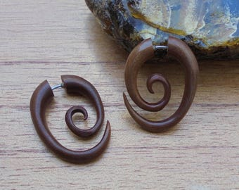 Fake Gauge Earrings, Spiral Fake Earrings, Wood Fake Earrings, Wooden Accessories, Bali Jewelry, Saba 08