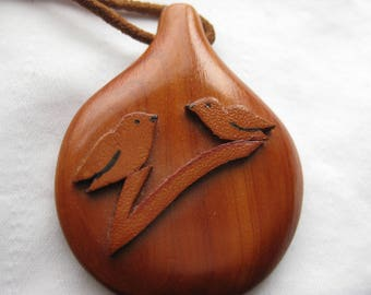 wood and suede birds pendant