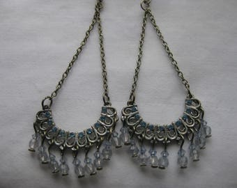 baby blue chandelier dangle earrings
