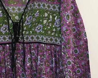 Vintage Indian cotton block print dress with tassles