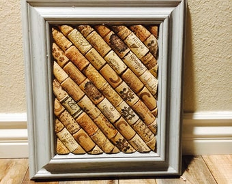 Gray Wine Cork Board; 8x10 Cork Board; Framed Cork Board