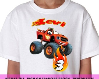 Blaze Iron On Transfer , Blaze Birthday Shirt DIY , Boy DIY Birthday Shirt , Blaze , Digital File , Iron On Transfer , Personalize Name