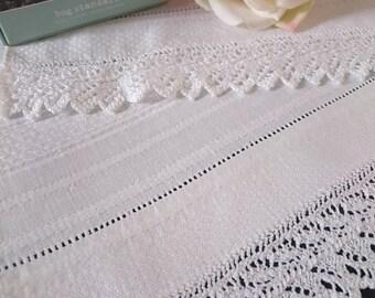 Unused Antique Irish Linen huckaback Guest towel with a double hand crochet lace trim