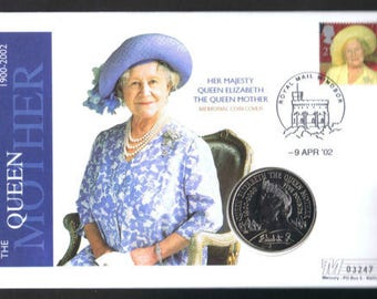 Queen Mother Memorial 5 pound coin cover 9th April 2002 by Mercury No 03247.