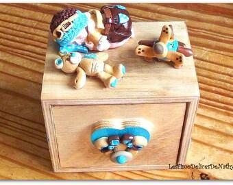"Baby boy ""Airman's dream"" fimo wood keepsake box"
