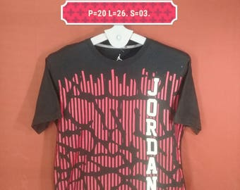 Vintage Nike Air Jordan Shirt Spellout Big Logo Shirt Black Colour Size L Air Jordan Shirts USA Nike Olympic Shirts