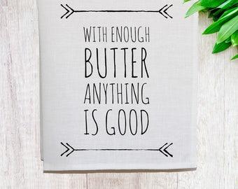 Enough Butter Linen Tea Towel [Off White]