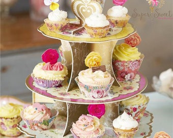 Vintage Tea Party Cupcake Stand, Vintage Tea Party, Baby Shower, Vintage Hen Party, Cupcake Stand, Vintage Wedding, Truly Scrumptious, Cake