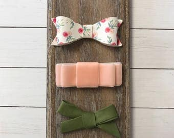 Faux leather bow, velvet bow, hand tied bow