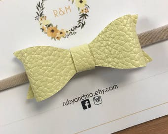 Yellow Leather Bow, Yellow Bow, Classic Bow, Baby Bow, Toddler Bow