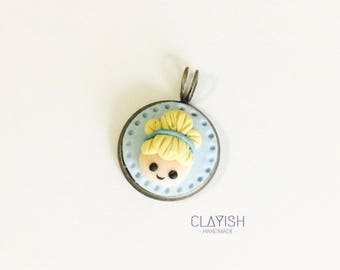 Disney Princess Cinderella Polymer Clay Handmade Charm Necklace