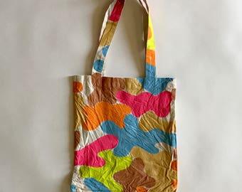 Hand painted neon woodland camo eco bag (S)