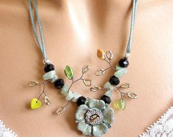 Jewelry necklace flower anemone ceramic button.