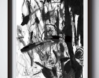 Abstract Art, Black and White Art, Painting Print