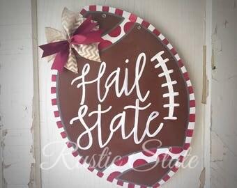 Mississippi State Door Hanger MSU Football Bulldog Hail State Maroon White