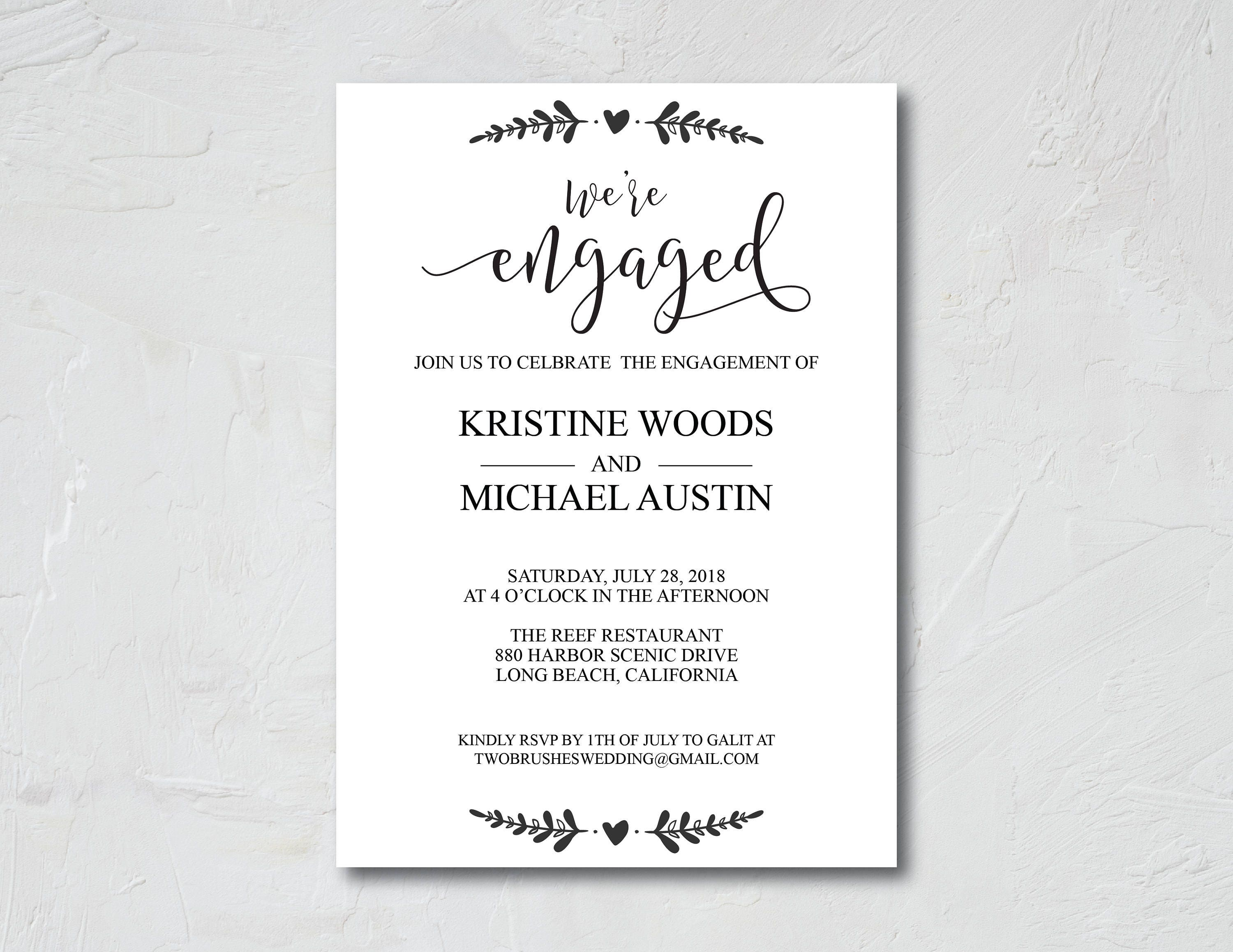 We\'re Engaged, We\'re Engaged Invitation, Engagement Party, Printable ...