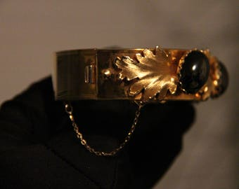 Antique Gold leafs with mystery hematite stone bangle (Year 1879)