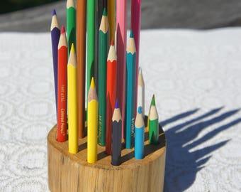 Oak pencil holder // Log desk organizer // Wood pencil holder // Pencils holder