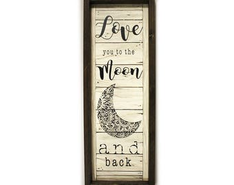 The Country Nest, Love you to the Moon and Back, Shadowbox Wall Hanging, Love, Home Decor, Rustic Home Decor, Wall Hanging, Wall Sign