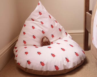 Handmade child's bean bag chair ladybird print, Made to order