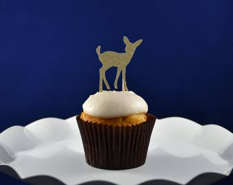 Deer Cupcake Toppers / Bambi Cupcake Toppers / Forest Shower Cupcake Toppers / Enchanted Forest Cupcake Toppers / Woodland Animal