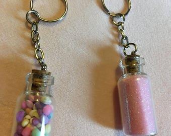 Unicorn poop and fairy dust jar keyrings