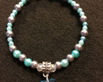 Blue and silver stretch charm bracelet