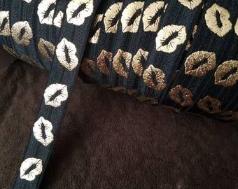 Black Ribbon- Gold Lips- Wholesale - Lipsense  FOE Fold over Elastic