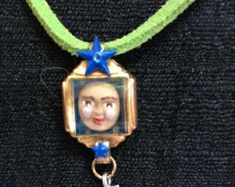 Repurposed vintage watch panorama pendant necklace