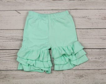 Mint Ruffle Shorts