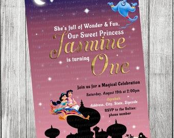 Aladdin/Jasmine Princess Invitation