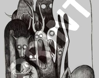 "Monster artwork print - ""Artists Block"""