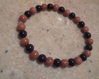 Black Onxy & Gold Stone Gemstone Bracelet