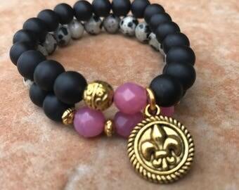 Matte Black Onyx and Dalmation Jasper Beaded Bracelets - Set of 2