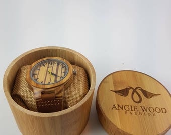Mens Luxury Handmade Wooden watch Bamboo Wristwatchs with Leather Bands