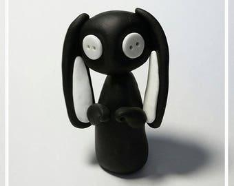 Button Eyed Rabbit, Handmade Polymer Clay Ornament