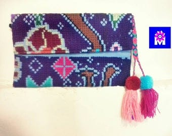 Handmade cross-stitch mexican clutch,Chiapas