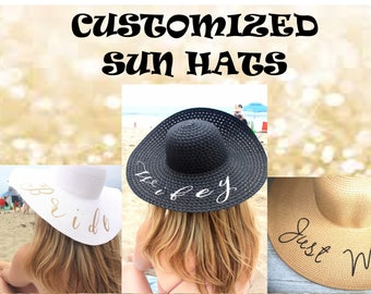 CUSTOM FLOPPY SUN Hat. Large Brim, Packable, and Durable. Bride Gift