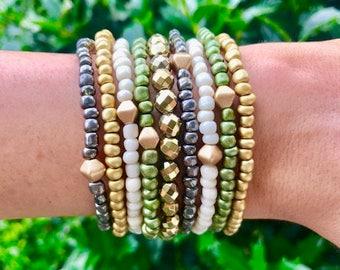 Earthy Bohemian Bracelet Stack | Gold Luster Hematite | Neutral | Gift | Gypsy | Wanderlust | Boho | Green | Gold | Camo | Matte | Metallic
