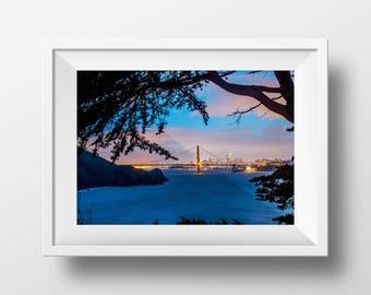 PRINT - Golden Gate Bridge with Beach Photography Print