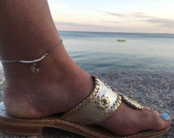 Beaded Anklet - Beaded Bar Anklet - Bar Anklet - Charm Anklet - Moon and Star Anklet - Ankle Bracelet