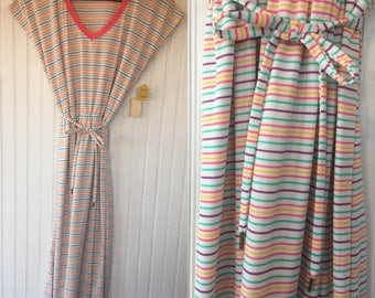 NWT Size M Vintage 70s 80s MaryJane Ringer Tee Shirt Dress Pink Turquoise Yellow Purple and White Ringer Medium Small Original Tags Eighties