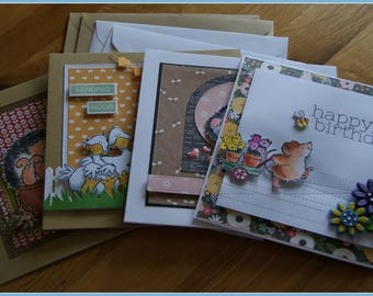 Set of Four Handmade Birthday Greeting Cards