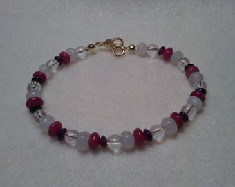 Beaded bracelet Garnet Coral Moonstone and Clear Quartz